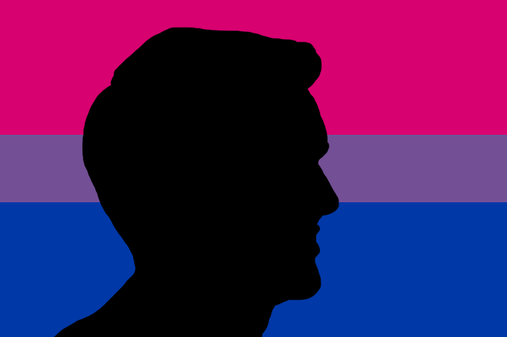 male escort silhouette against bisexual flag background